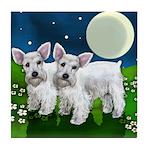 SCHNAUZER DOGS FULL MOON Tile Coaster