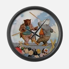 Roosevelt Bears Jousting Large Wall Clock