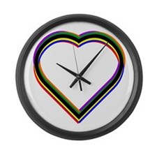 Rainbow Heart Large Wall Clock