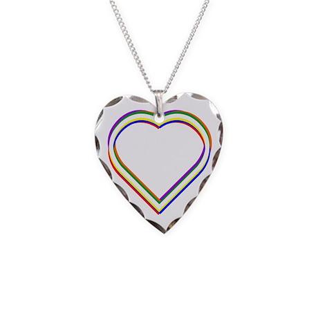 Rainbow Heart Necklace Heart Charm