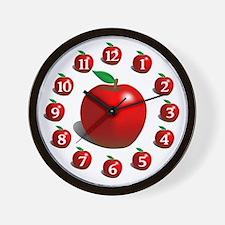 Red Apple Fruit Pattern Wall Clock