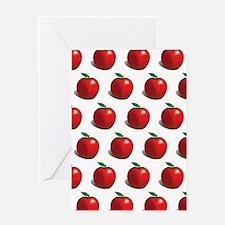 Red Apple Fruit Pattern Greeting Card