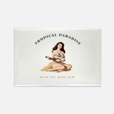 Tropical Paradise Island Girl 2 Rectangle Magnet