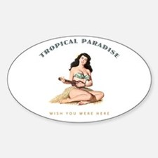Tropical Paradise Island Girl 2 Decal