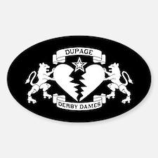Sticker (Oval) - White Logo on Black