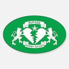 Sticker (Oval) - White Logo on Green