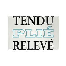 Tendu, Plie, Releve (Blue Design) Rectangle Magnet