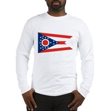 Ohio Buckeye State Flag White Long-Sleeve Shirt