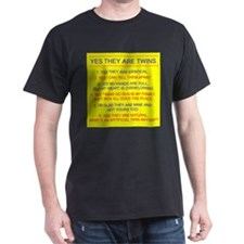 Twins Questions Identical Black T-Shirt