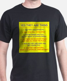 Twins Questions Identical Black T-Shirt