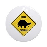 Turtle crossing sign Round Ornaments