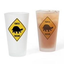 Turtle Crossing Sign Drinking Glass