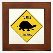 Turtle Crossing Sign Framed Tile