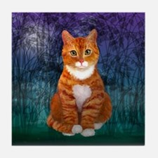 Green Eyed Orange Tabby Cat Tile Coaster