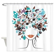 Butterfly Afro Shower Curtain