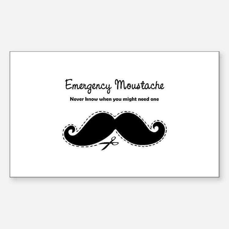 Emercency Moustache Sticker (Rectangle)