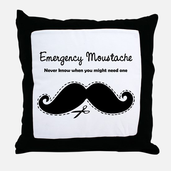 Emercency Moustache Throw Pillow