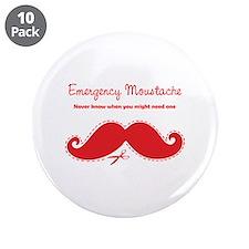 """Emercency Moustache 3.5"""" Button (10 pack)"""