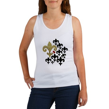 Gold & Black Fleur de lis Women's Tank Top