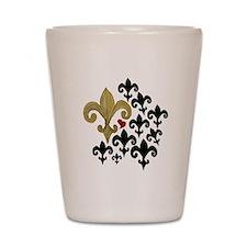 Gold & Black Fleur de lis Shot Glass