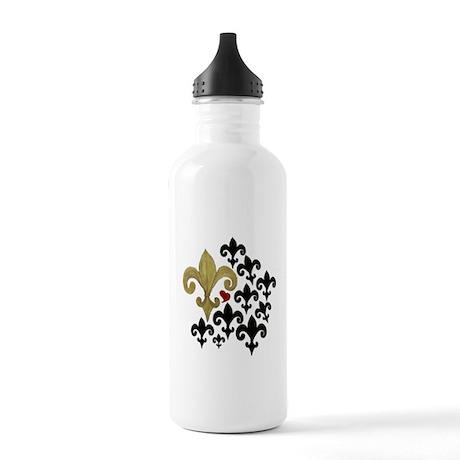 Gold & Black Fleur de lis Stainless Water Bottle 1