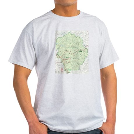 Yosemite Trail Map on Ash Grey T-Shirt