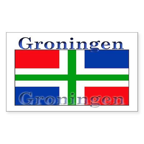 Groningen Gronings Flag Rectangle Sticker
