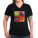 Collie Silhouette Pop Art Women's V-Neck Dark T-Sh