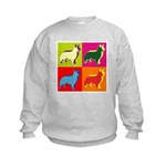 Collie Silhouette Pop Art Kids Sweatshirt