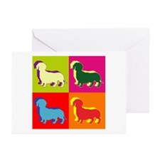 Dachshund Silhouette Pop Art Greeting Cards (Pk of