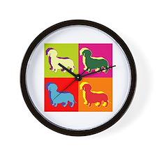 Dachshund Silhouette Pop Art Wall Clock