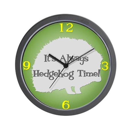 HEDGEHOG TIME Green Wall Clock