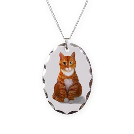 Orange Tabby Cat Necklace Oval Charm