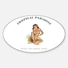 Tropical Paradise Island Girl 1 Decal