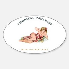 Tropical Paradise Island Girl 3 Decal