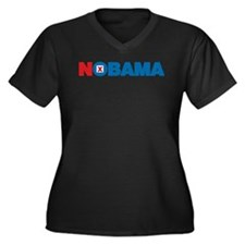 NOBAMA Women's Plus Size V-Neck Dark T-Shirt
