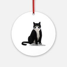 Black and White Tuxedo Cat Ornament (Round)