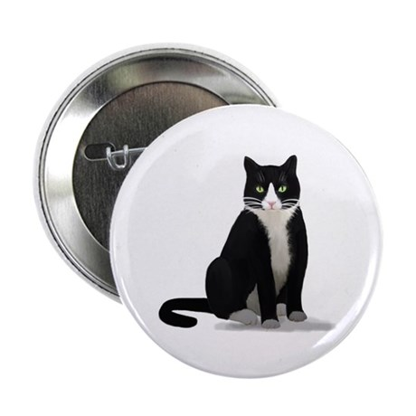 """Black and White Tuxedo Cat 2.25"""" Button (100 pack)"""