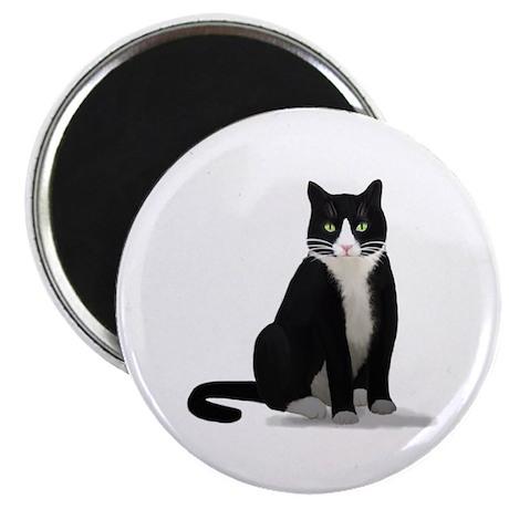 """Black and White Tuxedo Cat 2.25"""" Magnet (10 pack)"""