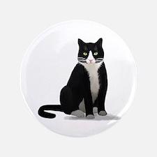 "Black and White Tuxedo Cat 3.5"" Button"