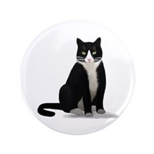"Black and White Tuxedo Cat 3.5"" Button (100 pack)"