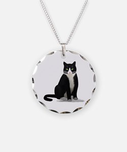 Black and White Tuxedo Cat Necklace