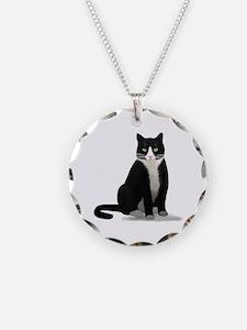 Black and White Tuxedo Cat Necklace
