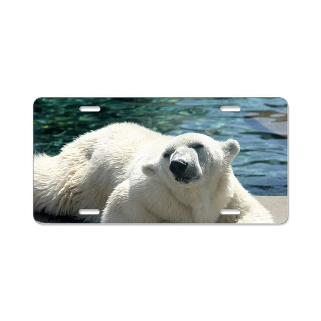 Polar bear aluminum license plate by sweetpeasdesigns for Belly button bears wall mural