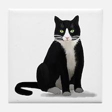 Black and White Tuxedo Cat Tile Coaster
