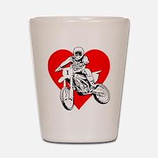 """I love dirt biking"" (Red) Shot Glass"
