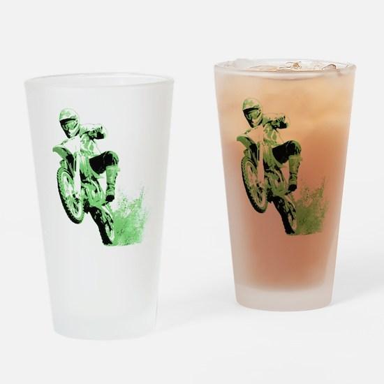 Green Dirtbike Wheeling in Mud Drinking Glass