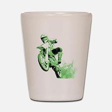 Green Dirtbike Wheeling in Mud Shot Glass