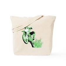 Green Dirtbike Wheeling in Mud Tote Bag