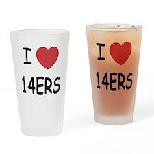 I heart 14ers Drinking Glass